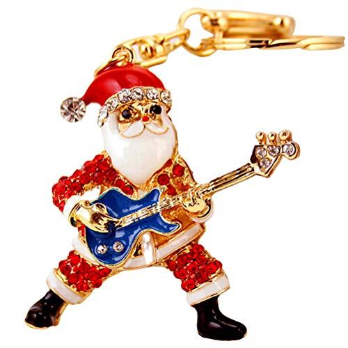Llavero de Navidad con cristales de diamantes de imitación, llavero de Papá Noel
