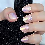 24pcs Unicorn Chrome Press On Fake Nails with Designs Iridescent Pink Short Full False Nails Acrylic with Glue Sticker
