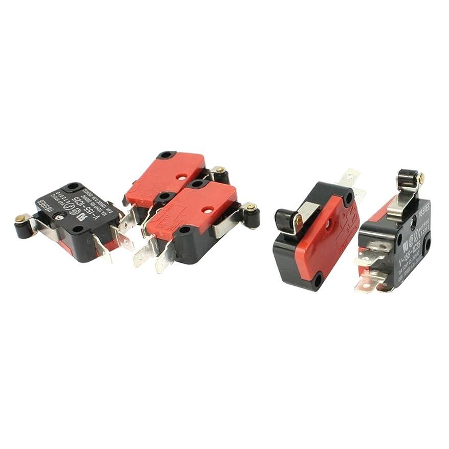 今後助けて嵐のマイクロスイッチ,SODIAL(R) 5件の SPDT NO NC V-155-1C25 ショートヒンジローラーレバーコントロールリミットマイクロスイッチ
