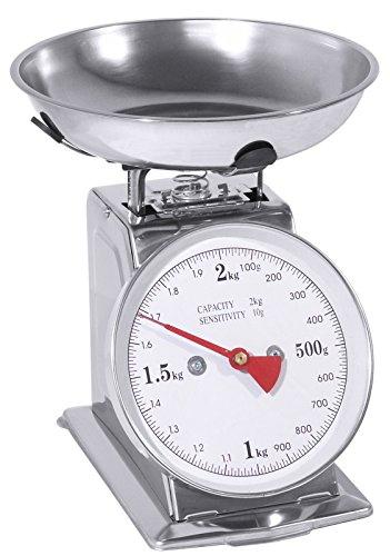 Küchenwaage mit grau lackiertem Stahlgehäuse, Schale aus Edelstahl, Nutzlast bis 2 kg, skaliert in 10 g-Schritten, Schalenkapazität: 0,7 ltr. | ERK