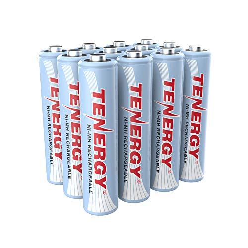Tenergy AAA Rechargeable Battery, High Capacity 1000mAh NiMH AAA Battery, 1.2V Triple A Batteries, 12-Pack