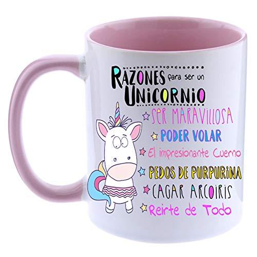 FUNNY CUP Taza Unicornio Color. Razones para ser un Unicornio. Divertidos Motivos para lucir Entre Amigas (Rosa)