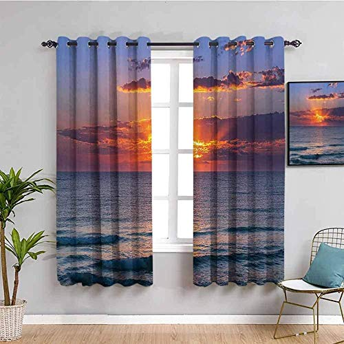 ZLYYH living room curtains Sunset sea sky clouds W66'xL90'(33'x90'x2 panels) 3D Blackout Curtains Thermal Insulated Opaque Reduce Noise-Family Hostel Baby Room Christmas Holiday Decoration Curtain