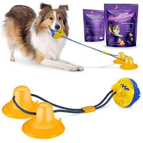 ComfiTime Dog Chew Toy - Interactive Suction Cup Dog Toy for Tug of War, Chewing; Durable Dog Ball and Rope Toy for Boredom, Teething, Teeth Cleaning and Training; Tough Enough for Aggressive Chewers
