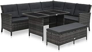 UnfadeMemory Conjunto de Sofás Exterior de Jardín con Cojines,Muebles Terraza Exterior,Sofá en Forma de L+Mesa+Banco,Ratán Sintético (Gris y Gris Oscuro)