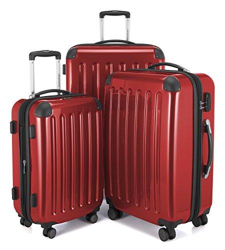 HAUPTSTADTKOFFER - Alex - 4 Doppel-Rollen 3er Trolley-Set Rollkoffer Reisekoffer, (S, M und L) Koffer-Set, 75 cm, 235 L, Rot