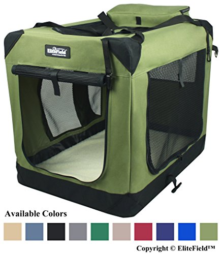 """EliteField 3-Door Folding Soft Dog Crate, Indoor & Outdoor Pet Home, Multiple Sizes and Colors Available (24"""" L x 18"""" W x 21"""" H, Sage Green) AmazonPets Basic Crates Dog from Kennels Selection Supplies Top"""