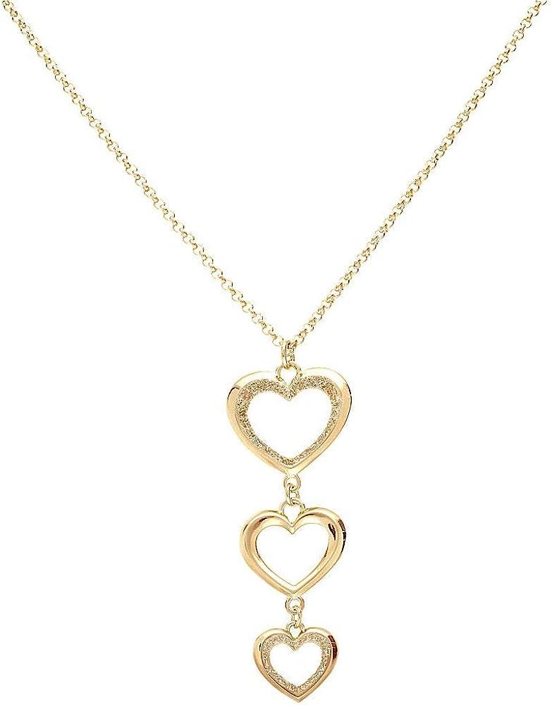 Stroili collana per donna in ottone oro rosa con pendente cuori glitter 1668383