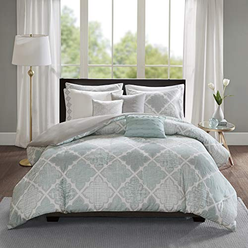Madison Park Cadence 8 Piece Cotton Sateen Duvet Cover Set, King/Cal King(104u0022x92u0022), Geometric Aqua