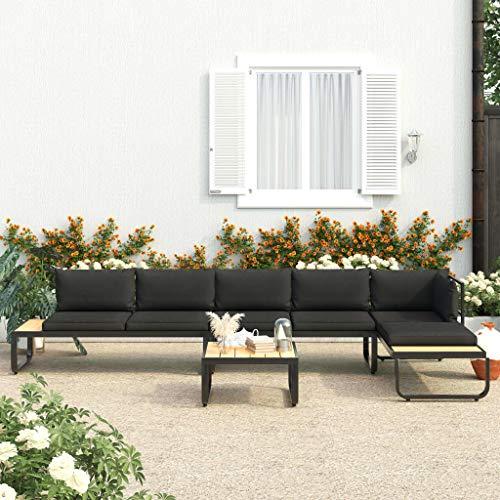 Festnight Salon de Jardin Meuble de Patio Ensemble de Canapés Canapés d'angle de Jardin 4 pcs et Coussins Aluminium et WPC
