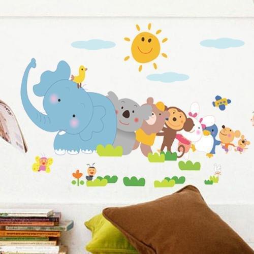 WLYUE DIY Wandsticker Wandtattoo Wandbilder Wandaufkleber Umweltschutz Wohnzimmer Schlafzimmer Kindersofa Hintergrund Wand Kinderzimmer Aufkleber Cartoon Baby Elefant