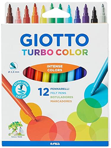 Giotto 71400 Turbo Colouring Fine Tip Pens, Box of 12, Intense Vibrant Colours