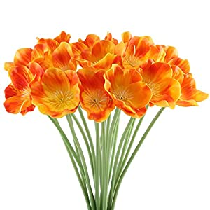 HO2NLE 20pcs Artificial Poppies Flowers Realistic PU Fake Wedding Bouquet Arrangements for Home Kitchen Living Room Dining Table Centerpieces Decorations Orange