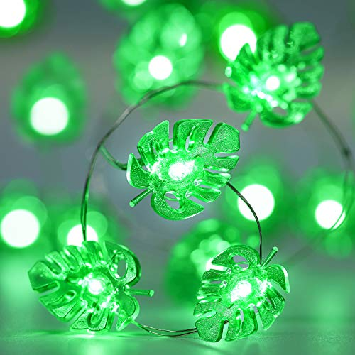 Green String Lights,10ft 40 LEDs Green Palm Leaves Fairy Light, Battery Powered with 12 Modes, Remote and Timer Function for St. Patricks Summer Party Wedding Decoration