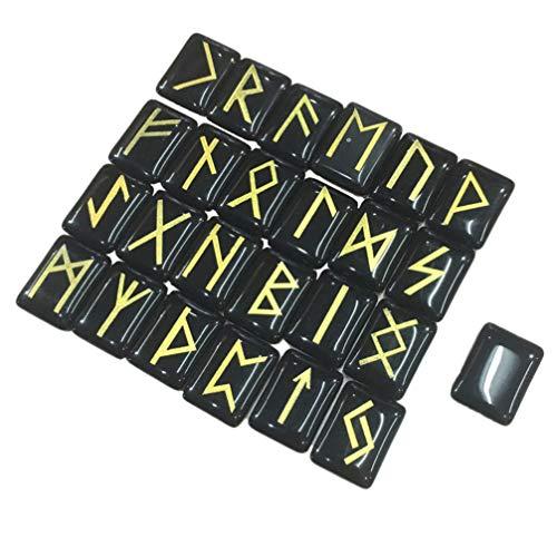 Vosarea adivinación natural piedra runa conjunto piedras grabadas anciano futhark alfabeto cristal meditación adivinación (ónix negro) 25 piezas