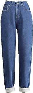 Vaqueros de terciopelo para las mujeres de invierno cálido vintage ropa de calle pantalones de mezclilla negro forro polar...