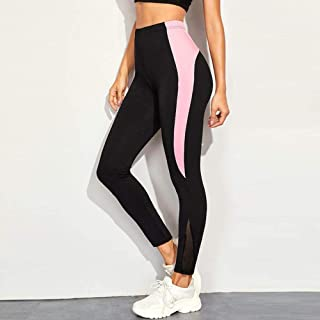 Jinqiuyuan Seamless High Waist Yoga Leggings Tights Women Workout Mesh Breathable Fitness Clothing Training Pants Female Gym Leggings (Color : Pink, Size : S)