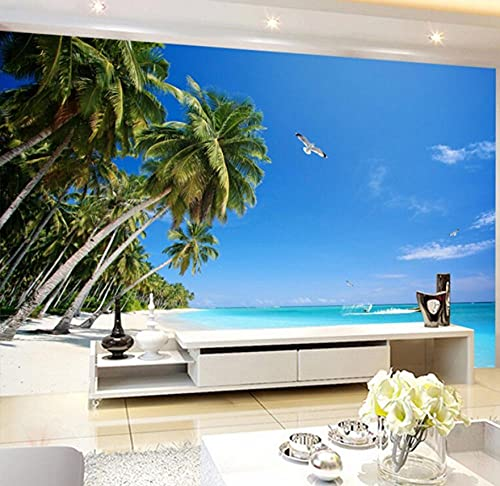 Papel Pintado Murales 3D Papel Tapiz Fotográfico Moda Moderna Paisaje Marino Cocotero Playa Mar Gaviota Mural Fondo Decoración De Pared Papel De Parede-430 * 300Cm