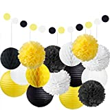 Fascola Pack of 22 Party Decoration Kit White Yellow Black Tissue Paper Pom Poms Flowers Papers Lanterns Circle Garland Birthday Wedding Christening Frozen Theme Party Decoration for Adults Boys Girl
