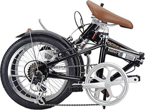 キャプテンスタッグ(CAPTAINSTAG)AL16インチ折りたたみ自転車アルミフレーム[シマノ6段変速/重量約10.6kg/前後V型ブレーキ/SHIMANOパワーモジュレーター/高ギア比設定/前後泥よけ]標準装備AL-FDB166ブラックYG-1228