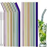 Glas Strohhalme, 12er Set mit 2 Reinigungsbürsten, Wiederverwendbar