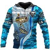 3D Atún Pesca Impreso Sudaderas Harajuku Streetwear Sudadera Unisex Casual Pullover Otoño Chaqueta Chándal, Sudaderas con capucha, L