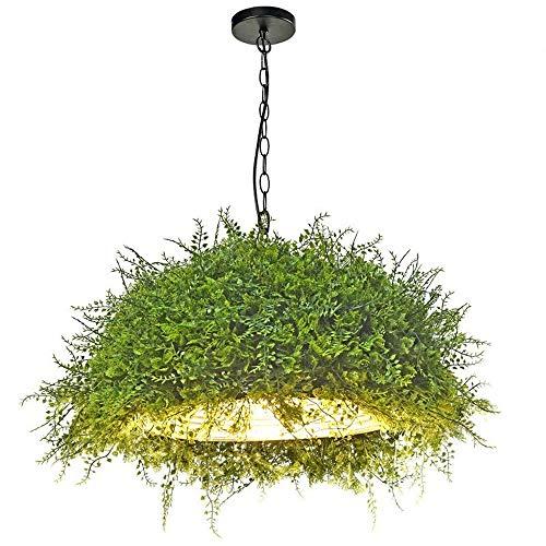 HSCW Araña de hierro forjado ronda pendiente de la luz E27 Suspensión luz de techo del viento industrial de la vendimia y planta de la flor decorativa de la lámpara redonda Cafe Bar Design luces decor