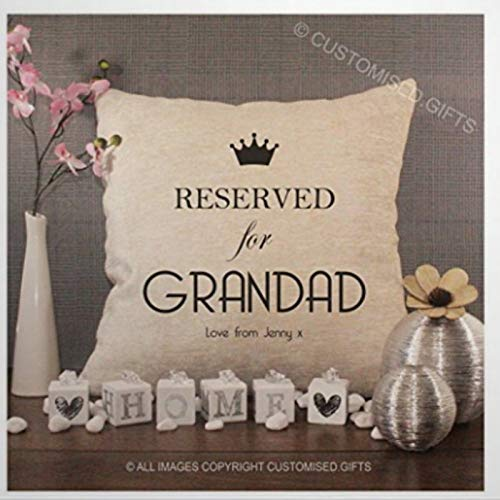 BYRON HOYLE Personalised Cream Chenille & Pad Reserved For Grandad Throw Pillow Cover Linen Square Pillow case Cushion Cover Pillowcase with Zipper Home Decor 18x18 inch