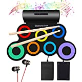 Oirtmiu Electronic Drum Set Kid Drum Pad Built-In Dual Speaker With Headphone Roll Up Drum, Electric Drum Sticks Pad,Drums Kit,Practice Musical Instruments Set,Birthday Gift For Kids Rainbow