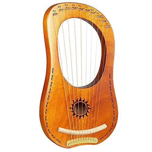 N / E Lyre Harp, Music Lyre Harp, 10 Cuerdas, sintonizador, con Estuche de Ajuste Tuning Llavero, Hermoso Sonido, Pequeño Regalo de Instrumento Musical Portátil