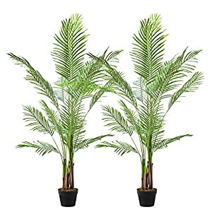 Silk Flower Arrangements Cozy Castle 2 Pack Artificial Areca Palm Plant 65in, 5 Feet Fake Tropical Palm Plant, Faux Dypsis Lutescens Plants, Artificial Plant for Home Decor Indoor, Paradise Palm Fake Tree with Plastic Pot
