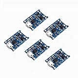 Teyleten Robot Micro USB 5V 1A 18650 TP4056 Lithium Battery Charger Module Charging Board with Protection Dual Functions 1A Li-ion(5pcs)