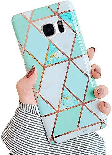 Saceebe Compatible avec Samsung Galaxy S7 Coque Etui Silicone 3D Géométrique Marbre Housse Léger Mince Flexible Étui Femme Fille Coloré Peint Housse Protection Slim Gel Cover,Vert