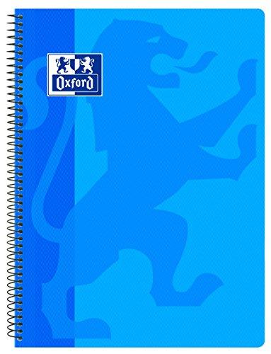 Oxford, Cuaderno A4 (Folio), cuadrícula 4x4, tapa plástico, color azul turquesa
