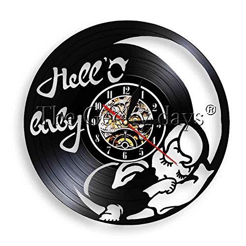 Liushenmeng Reloj de Pared de Disco de Vinilo Saco de Dormir para bebé Vintage Hecho a Mano DIY decoración para el hogar Colgante lámpara de Noche Reloj 7 Color luz Regalo de cumpleaños