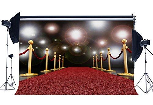 Sunny Star CA1105 Kulisse für Fotos und Studio, mit Rotem Teppich und Pailletten in Hollywood, goldenes Geländer, Hochzeits-Vinyl, Fotohintergrund, für Mädchen, Pärchen, Party-Dekoration, 2,1 x 1,5 m