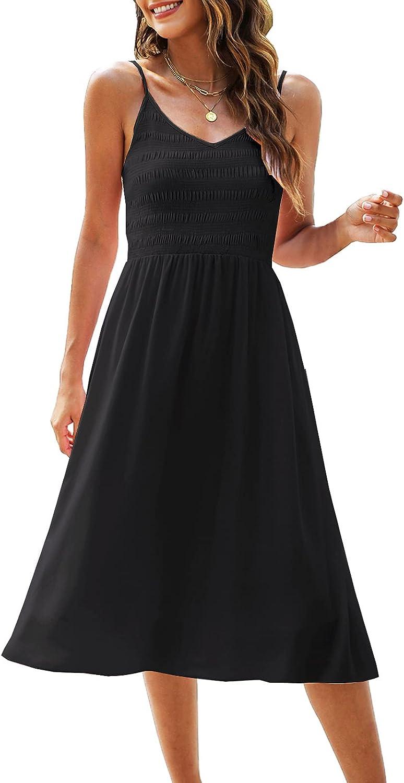 Zattcas Womens Summer Casual V Neck Spaghetti Strap Swing Smocked Midi Sun Dress