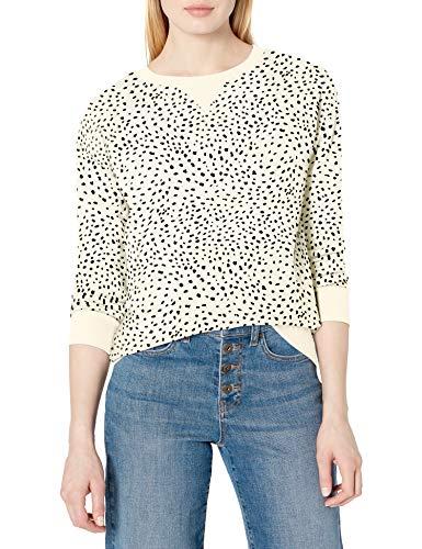 Amazon Brand - Daily Ritual Women's Terry Cotton and Modal Crewneck Sweatshirt, Cream/Black Dalmatian Print, X-Large