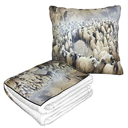 XINGAKA Manta de Viaje súper Suave,Gruppo di Gregge di pecore da Pastore di Pastore Vintage numerose rurali in movimento,Manta Plegable,Almohada cómoda