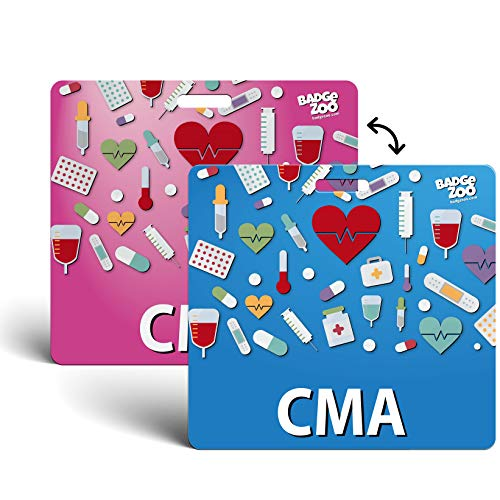 CMA Badge Buddy Pink/Blue Horizontal Heavy Duty with Medical Icons Identification Card - by BadgeZoo