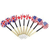 TOYMYTOY 9PCS Steel Tip Dardos con Bandera Nacional Vuelos Needle Brass Barrels Dart Tips Set