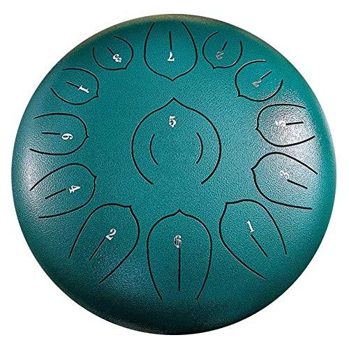 Qianduoduo888 Steel Tongue Drum, 12 Pulgadas 13 Notas Hang Drum Instrumento con Bolsa De Transporte De Mazos De Tambor, Handpan Drum para Musical Educativo Curación Mental Yoga
