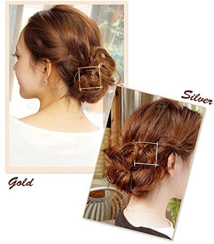 リトルムーンパッチン留めリプレーサフレームピンヘアピンシンプル四角スクエアヘッドアクセヘアアクセサリー髪飾り2シルバー