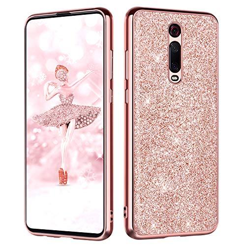 BENTOBEN Funda Compatible Xiaomi Mi 9T/9T Pro Purpurina Carcasa Ultra Delgada Cover Case Brillante Resistente Suave Silicona PC Protectora Anti-Golpes Fundas para Xiaomi Mi 9T 6.39'',Oro Rosa