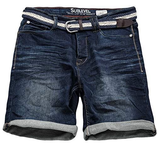 Sublevel Herren Jeans Shorts inkl Flechtgürtel Kurze Hose Bermuda Sommer Sweathose Slim [B701-Dunkelblau-W31]