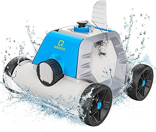 OT QOMOTOP Robot Pulitore da Piscina, Design senza Tubo, Ricaricabile, Tempo di Lavoro di 60-90 minuti, Impermeabile, Tecnologia di Rilevamento della Potenza, Tecnologia del Sensore d'Acqua Integrato