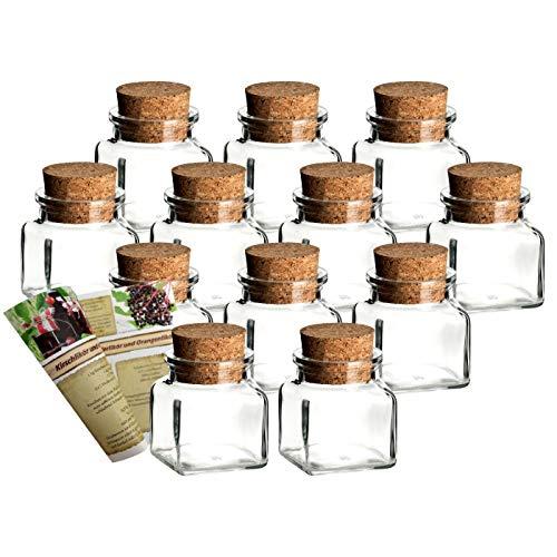 gouveo 12er Set Gewürzgläser Quadrat 120 ml mit Presskorken incl. Flaschendiscount-Rezeptbroschüre, Ideal für Gastgeschenke, Korkengläser, Glasdose, Aufbewahrungsglas, Korkenglas eckig