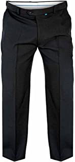 D555 Big Kingsize Mens Trousers Adjustable Waist Smart Casual Pants Black