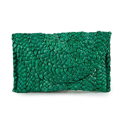 Syrads Bolso de mano de paja de noche para mujer Bolso de playa de verano Bolso de sobre tejido de paja,Verde