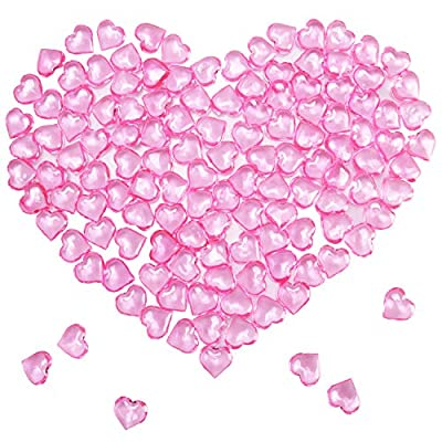 Mayam Llxieym 150 Pieces Acrylic Hearts for Valentine's Day Heart Ornaments Wedding, Party Vase Fillers Table Scatter Decoration